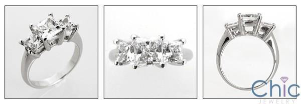 1.25 Princess High Quality Cubic Zirconia 3 Stone Ring 14K White Past Present Future