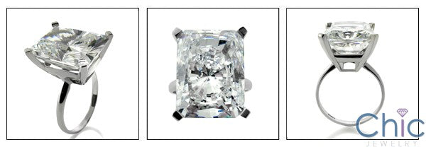 Solitaire 16 Ct Radiant Kardashian Engagement Cubic Zirconia 14K White Gold Ring