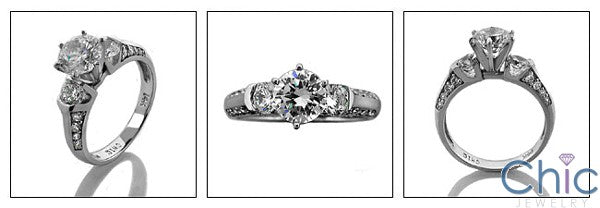 Engagement Round Cubic Zirconia Center Stone 6 Prong Cubic Zirconia Cz Ring