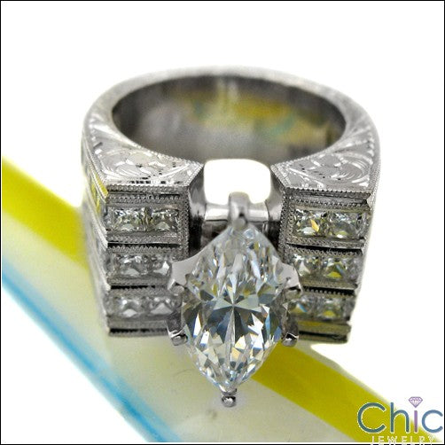 Engagement 2 Ct Marquise Ct Wide HCt Engraved Shank Cubic Zirconia Cz Ring