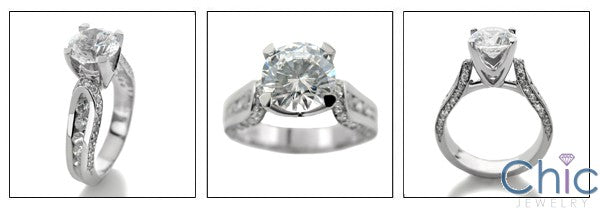 Engagement 1.5 Round Center Stone Channel Ct Pave Cubic Zirconia Cz Ring