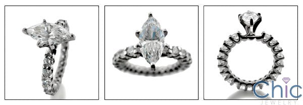 Engagement 1.5 Ct Marquise Center Share Prong Eternity Cubic Zirconia Cz Ring