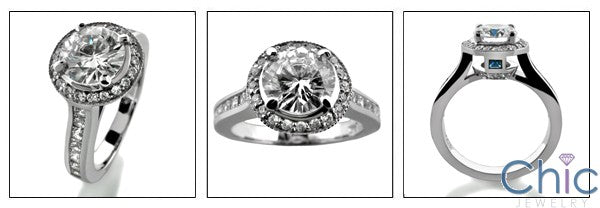 Engagement 1.1 round Center Halo Pave Ct Channel Princess Cubic Zirconia Cz Ring