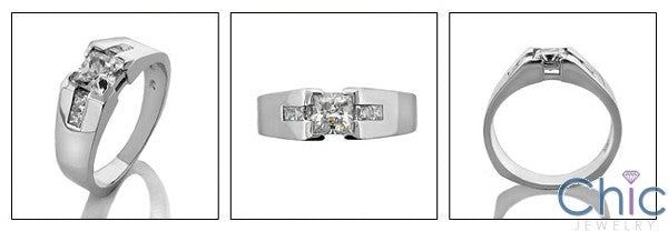 Mens .75 Princess Center Channel Cubic Zirconia CZ Wedding Band
