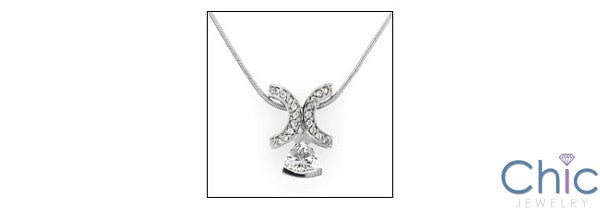 Cubic Zirconia Cz .75 Trillion in Channel Ct Pave Slide Pendant
