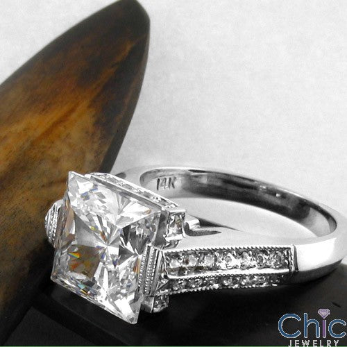 Engagement 3 Ct Princess Channel Cubic Zirconia Cz Ring