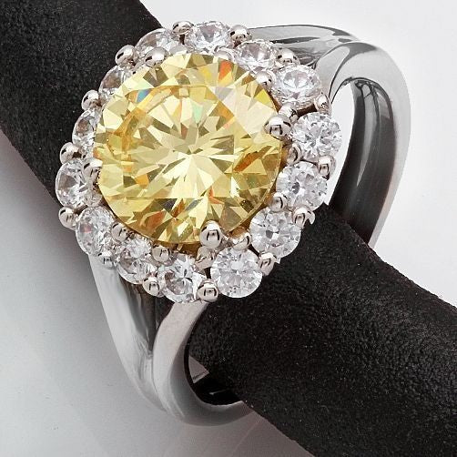 2.5 Round Canary Center Stone Halo Split Shank 14K White Gold Cubic Zirconia Ring
