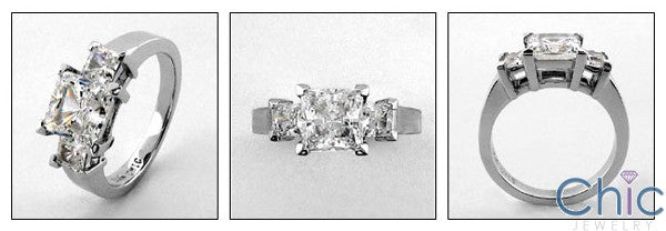 3 Stone Cubic Zirconia Ring 1.5 Carat Princess Center Half Carat Sides in Prongs 14k White Gold