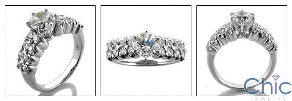 Engagement 1 Ct Round Center Double Rows Cubic Zirconia Cz Ring
