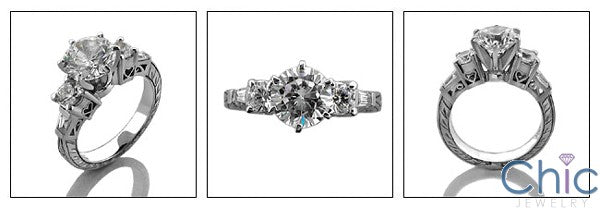 Engagement 1.5 round Center Hearts Ct Engraving Cubic Zirconia Cz Ring