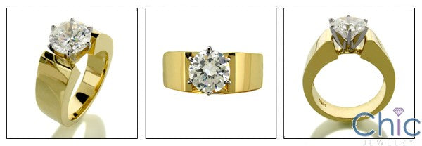 Cubic Zirconia 2 Carat Solitaire Round Heavy Yellow Gold 14k Cz Ring