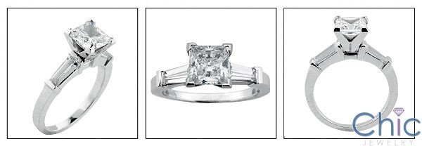 Engagement 1.25 Princess Center Long Tapered Baguettes Cubic Zirconia Cz Ring