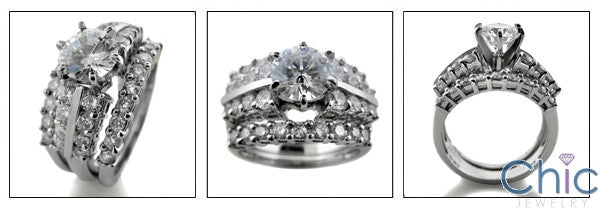 Matching Set 1 Ct Round Double Cubic Zirconia Cz Ring