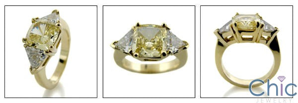 3 Stone 3 Ct Canary Cushion Trillions Cubic Zirconia Cz Ring