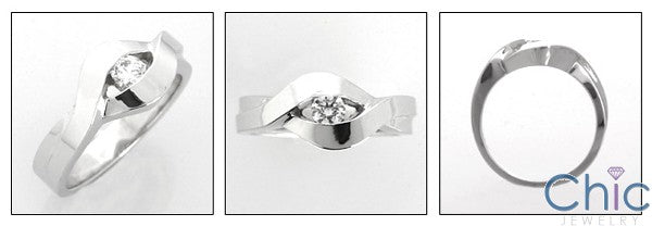 Promise Ring Cubic Zirconia 14K White Gold .20 Round Channel