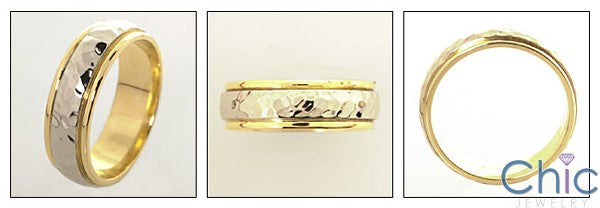 Mens 14K Two Tone Hammered Band