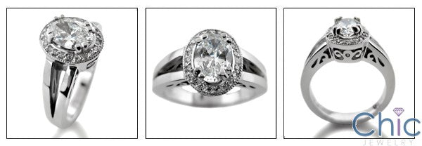 Anniversary Oval 1.25 Ct Pave Halo Cubic Zirconia Cz Ring