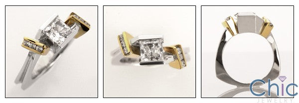 High Quality Cubic Zirconia Princess Cut Engagement Ring Euro Shank Two Tone 14K Gold
