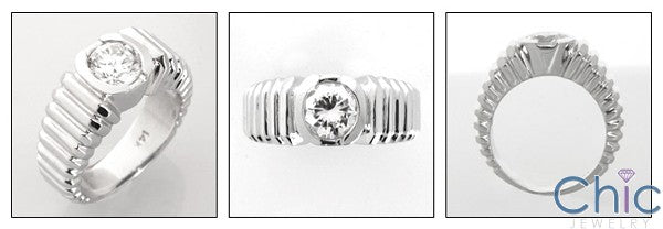 Cubic Zirconia Mens Ring 1 Carat Round  Bezel 14K White Gold