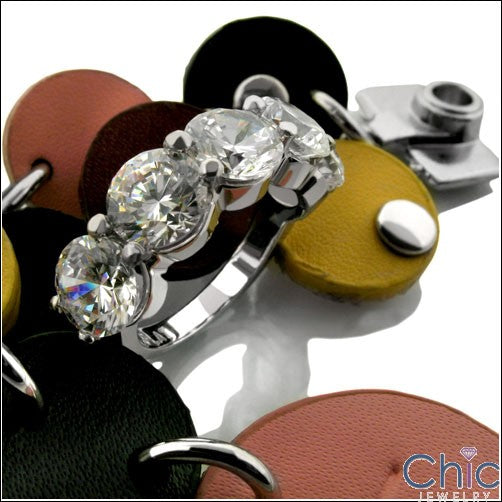 Anniversary 0.75 Round 5 Stone Share Prong Cubic Zirconia Cz Ring
