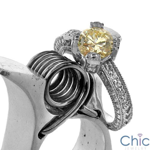 Anniversary Canary Round 1 Ct Cubic Zirconia Cz Ring