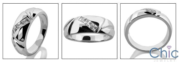 Mens 3 Princess in Channel Cubic Zirconia CZ Wedding Band