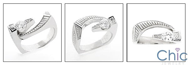 Fine Jewelry 0.50 Round channel engraved Cubic Zirconia Cz Ring