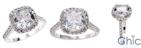 Engagement 3.5 Ct Cushion Pave Cubic Zirconia Cz Ring