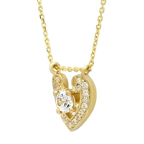 Heart Shaped Yellow Gold Pendant with 16 inch Chain