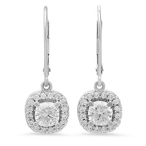 2.3 TCW Round Cubic Zirconia Stone Earrings Halo Lever Back 14k White Gold