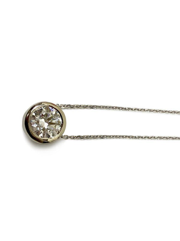 2 carat round cz pendant with 16 inch 14k white gold chain