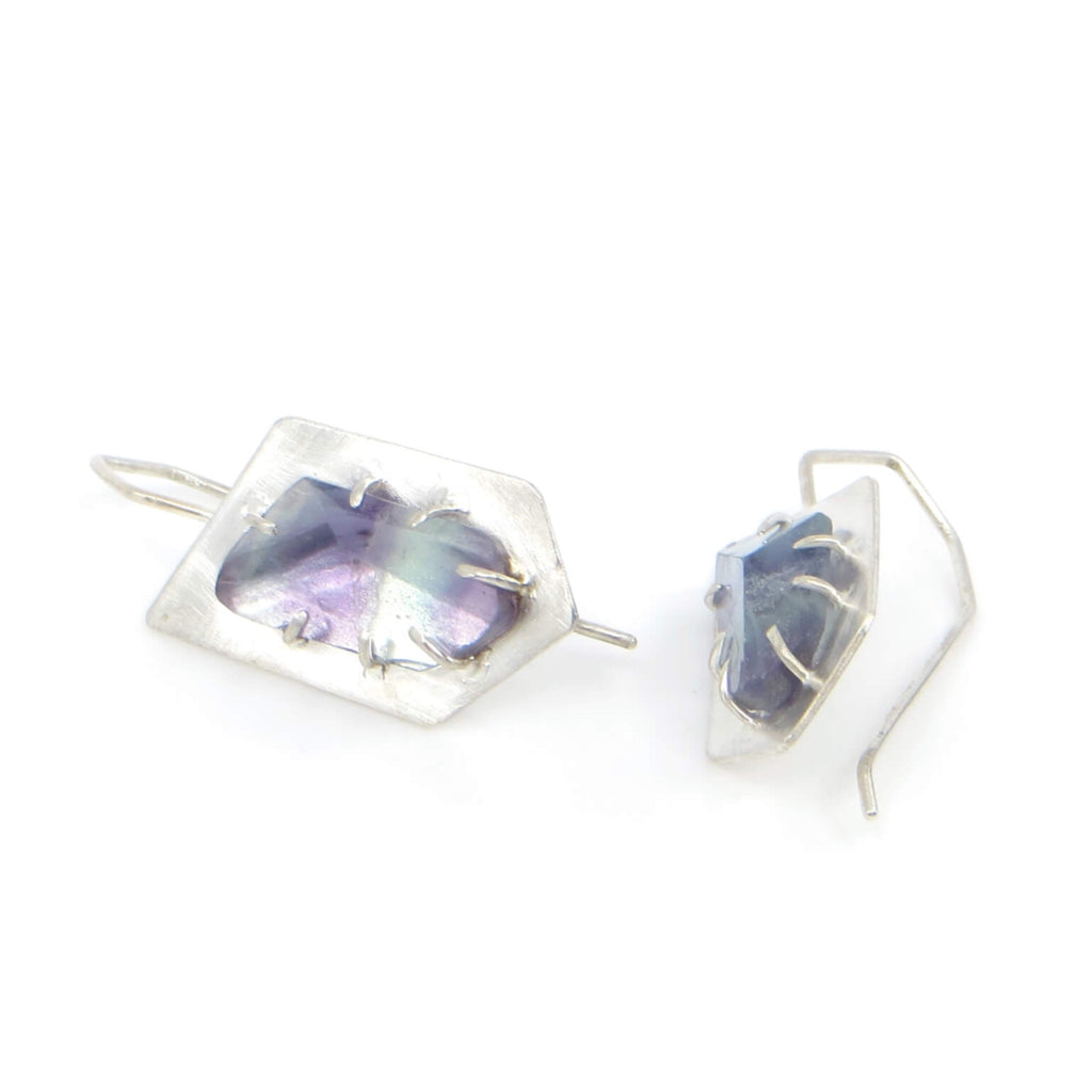 Angled purple and green fluorite stones on angled sterling setting with angled ear wires.