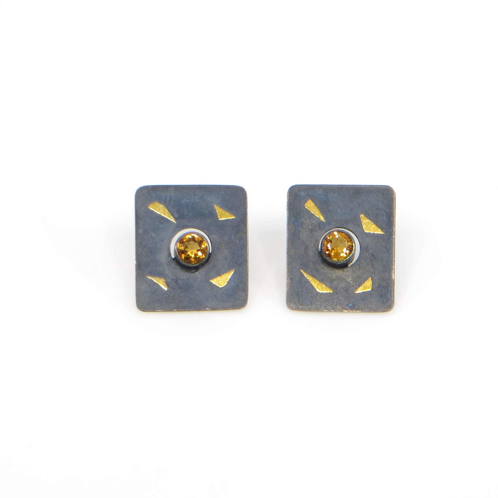 "Keum boo rectangle post earrings with center tube set faceted citrines.  24k gold on oxidized silver and citrines.   .5"" x almost .6"""