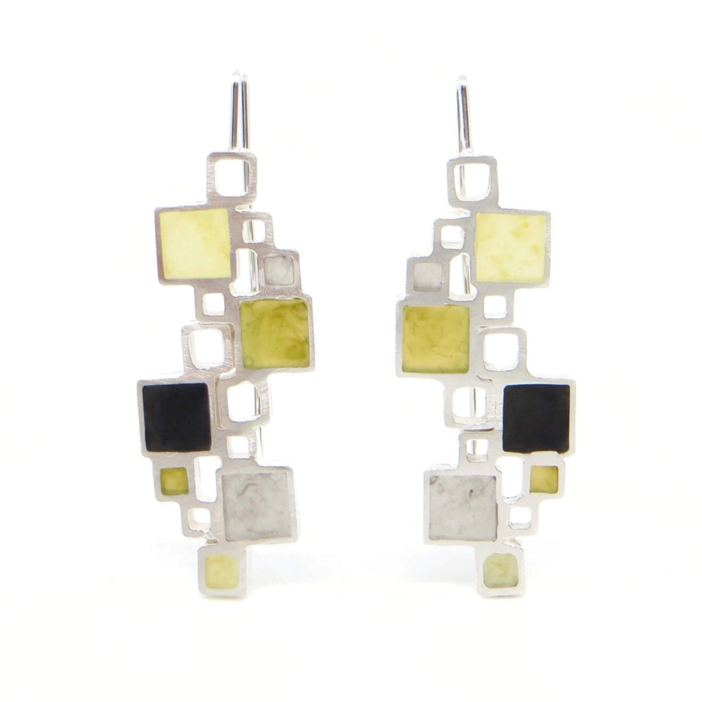 Sterling silver double open squares earrings with resin inlay.  Pale yellow, olive, grey, black.