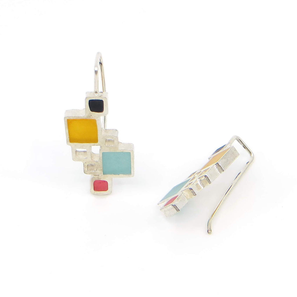 Open Squares sterling earrings with black, orange, aqua, pink resin inlay.