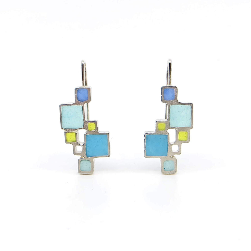Open Squares Sterling Earrings with Blue, Aqua, Turquoise and Apple Green Resin Inlay Squares