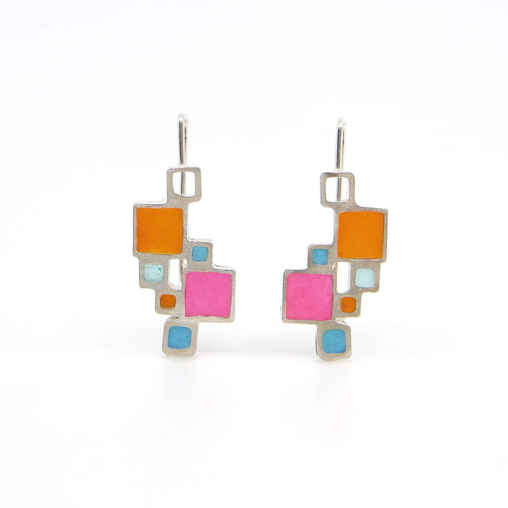 Open Squares sterling earrings with dark orange,  turquoise, aqua, pink resin inlay.