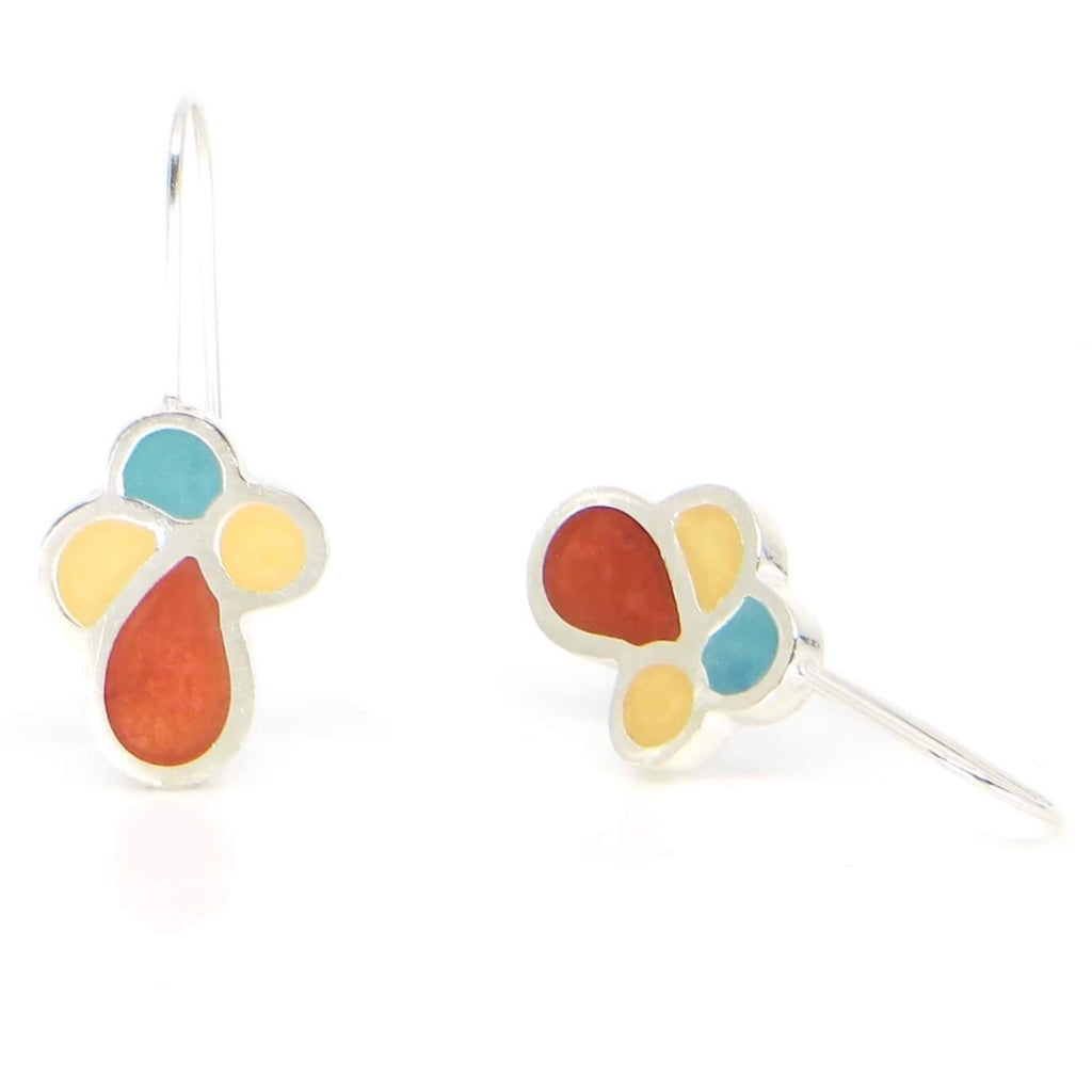 Chunky sterling silver and resin inlay flora vertical earrings.  Rust, turquoise, golden cream.