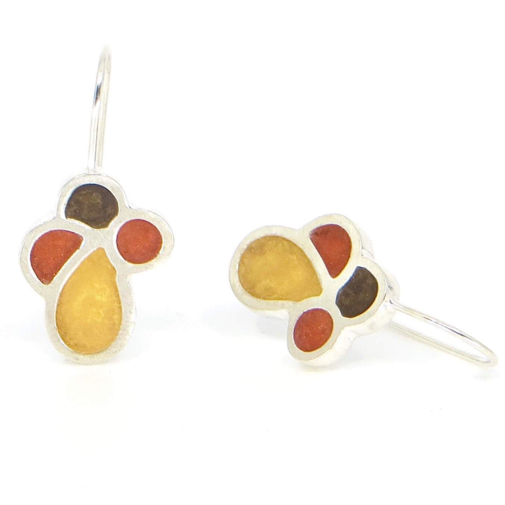 Chunky sterling silver and resin inlay flora vertical earrings.  Gold, rust, very dark olive green petals.