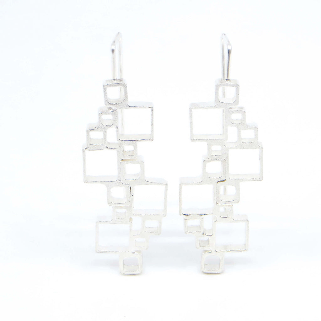 Open Squares Doubles Sterling silver earrings with square hook earwire.   Front view.