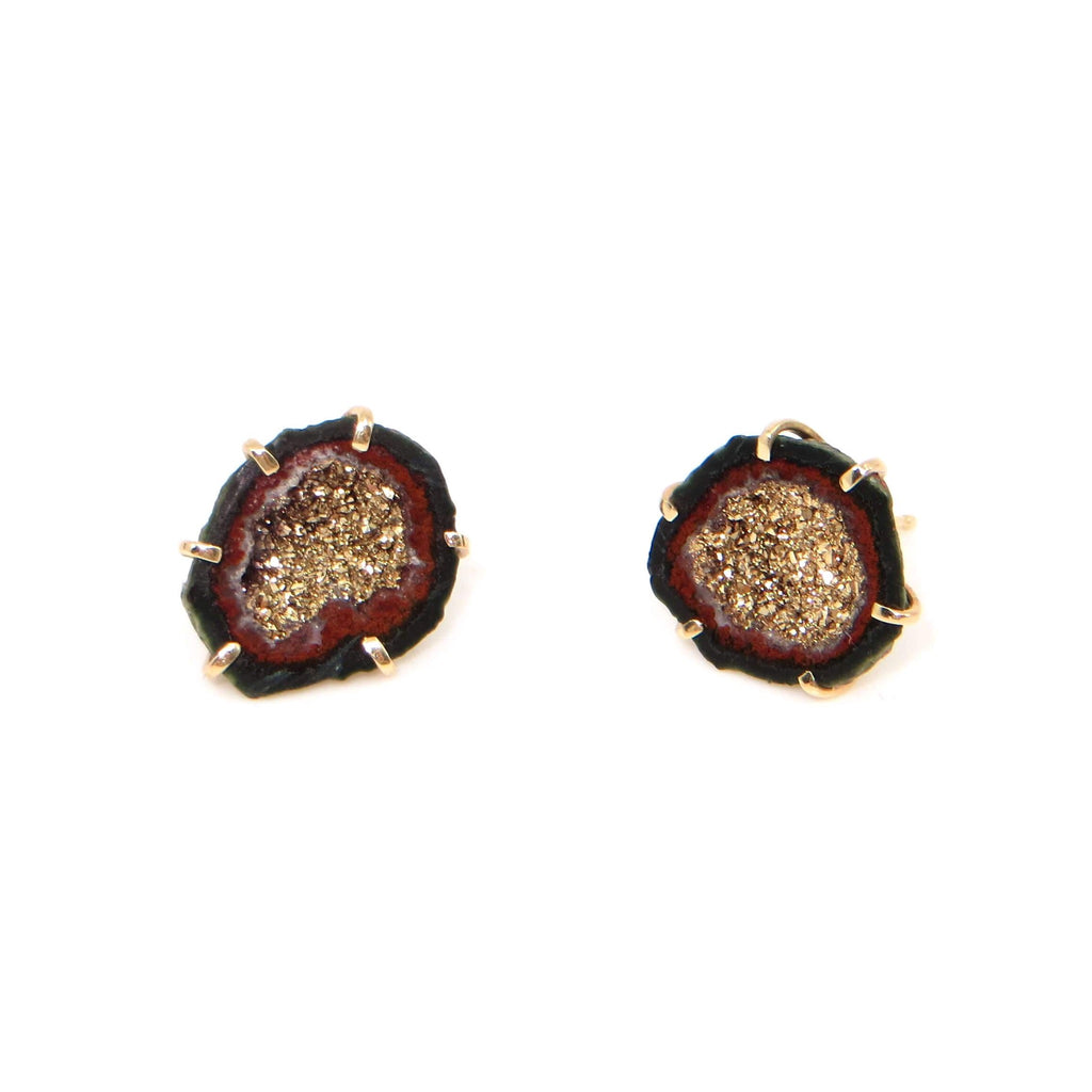 Gold and mini split geode stud earrings.  18k crystals, 14k cage frame setting. Black and red  outlines on geode.