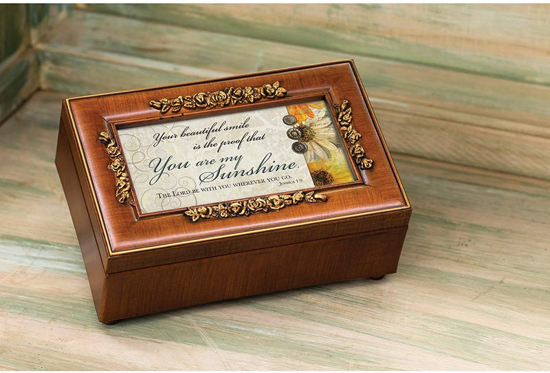 "Walnut Music Box with sentiment, ""You are my sunshine"""
