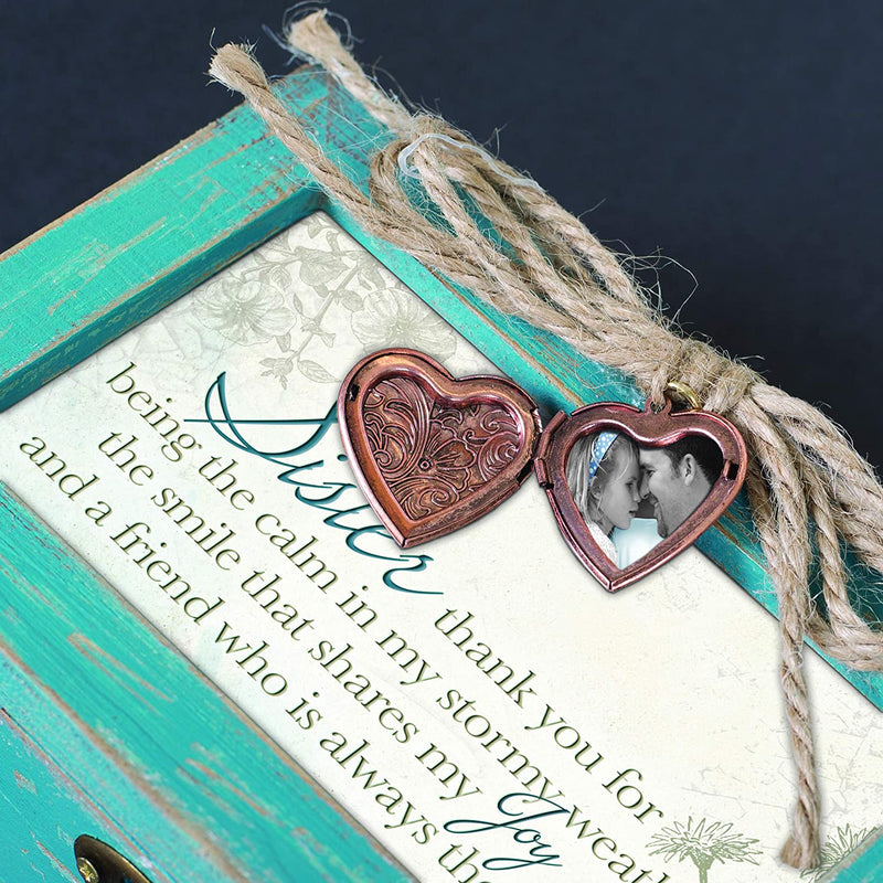 "Distressed Music Box with locket and sentiment, ""Sister"""