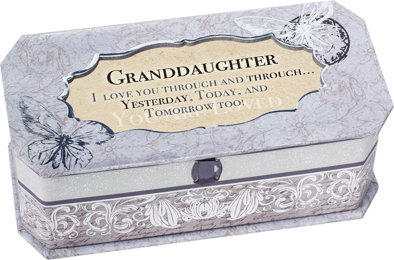 Granddaughter Petite Periwinkle Belle Papier Jewelry Music Box - Plays Song You are my Sunshine