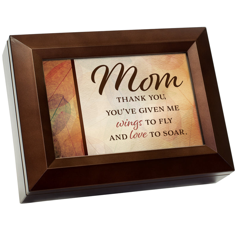 Mom You've Given Me Wings To Fly Wood Grain 9 X 7 Mdf Wood Decorative Keepsake Box