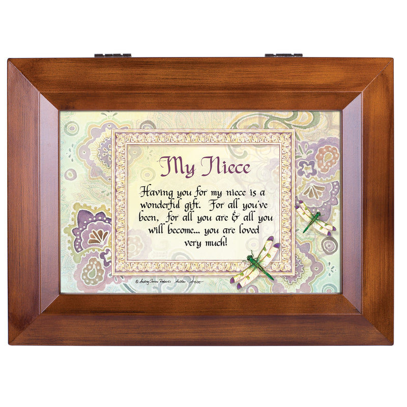 My Niece Wonderful Gift Loved Very Much Woodgrain Digital Keepsake Music Box Plays My Wish