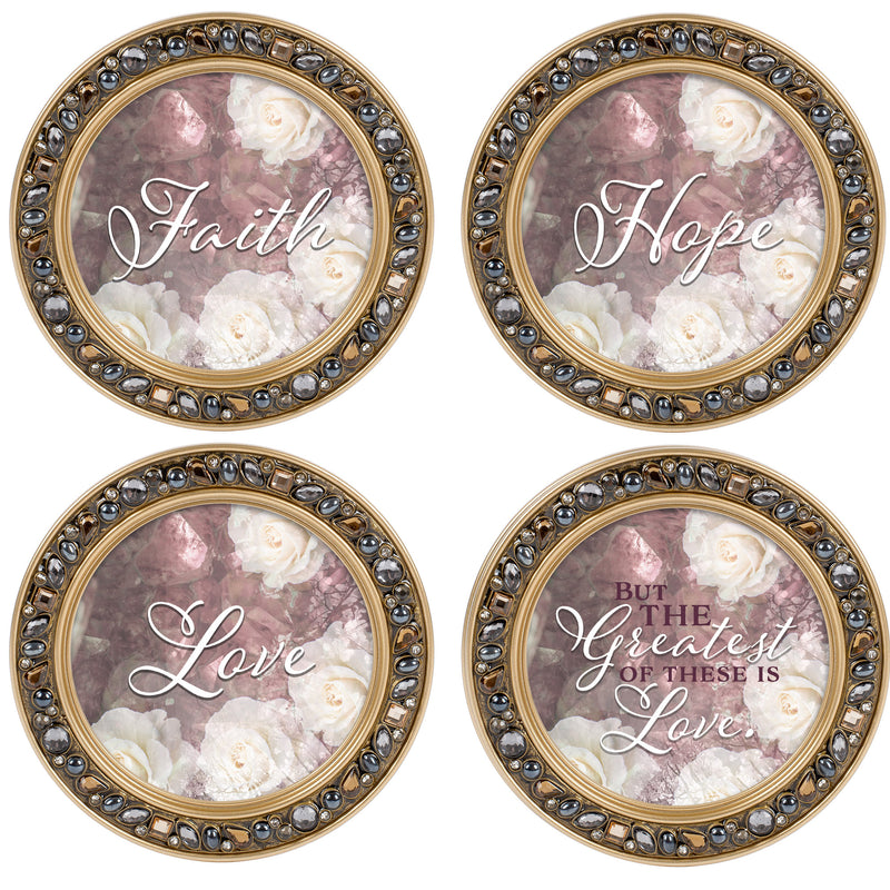 The Greatest of These is Love Amber Goldtone 4.5 Inch Jeweled Coaster Set of 4