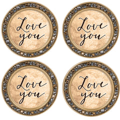 Love You Amber Goldtone 4.5 Inch Jeweled Coaster Set of 4