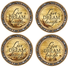 Live Dream Laugh Amber Goldtone 4.5 Inch Jeweled Coaster Set of 4