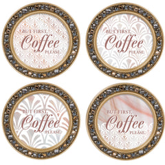 Coffee First Please Amber Goldtone 4.5 Inch Jeweled Coaster Set of 4